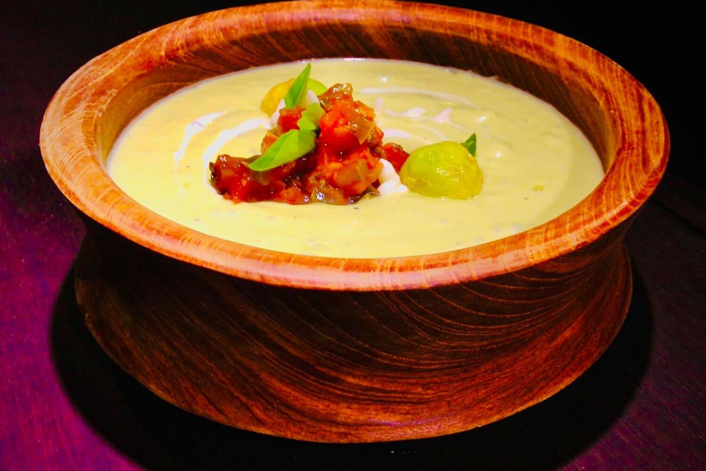 Cold avocado soup with salsa