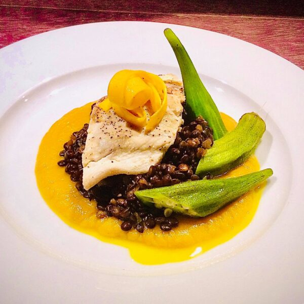 Mahi Mahi filet on beluga lentils, Pumpkin puree and sautéed okra